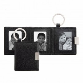 SMYTHSON - Folding Triple Photograph Frame Key Ring/Black Pigskin Collection