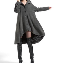 etsy - Gray single breasted wool coat cloak outerwear asymmetry wool Overcoat Swallowtail winter coat