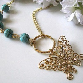 Luulla - Soft Golden Butterfly Pendant with Blue Turquoise Beads Necklace