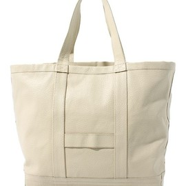 Leather Tote Bag Ivory×Navy