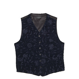 ENGINEERED GARMENTS - Clement Vest-Floral Emb. Corduroy-Navy