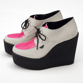 underground - Suede and Pink Neon Wedge Creepers