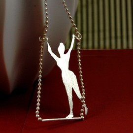 MarKhed - Lady Sweet Pea Trapeze Artist Sterling Silver Circus Necklace