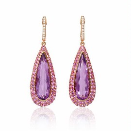 Firenz Jewels - Diamond, Pink Sapphire and Purple Amethyst 18k Rose Gold Dangle Earrings - ダイヤモンドのイヤリング