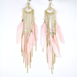 alanatt - Golden Tone Pink Feather Drop Earrings