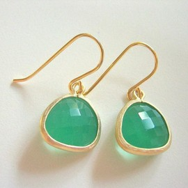 Luulla - Spring Green Earrings, Palace Green Opal Gold Trimmed Earrings