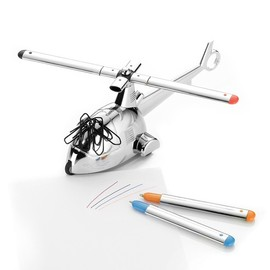 UncommonGoods - Helicopter Mechanical Paperweight - Chrome, Copter, Executive, Magnetic Pen.