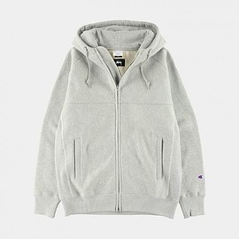 STUSSY, Champion - Windstopper® Reverse Weave® Zip Hoodie - Heather Grey