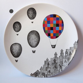 Plaid Balloon Wall Hanging Plate
