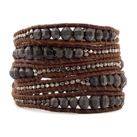 Chan Luu - The Graduated Antique Gunmetal Indian Bead and Nugget Wrap Bracelet on Red Brown Leather by jewelry designer Chan Luu