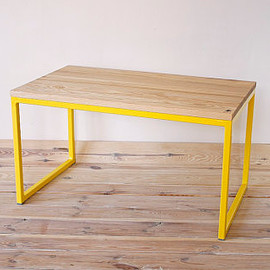 Industrial Yellow and Wood coffee table