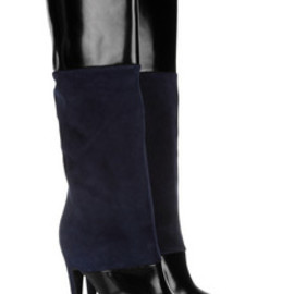 PIERRE HARDY - Glossed leather and suede knee boots