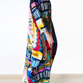 Gracila Abstract Printed Long Sleeve Loose Maxi Vintage Dresses