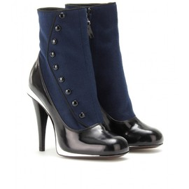 FENDI - FELT AND LEATHER BUTTON BOOTS