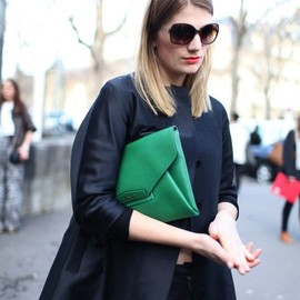 street - green clutch bag