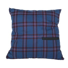 PEEL&LIFT - square pillow with insert / blue tartan