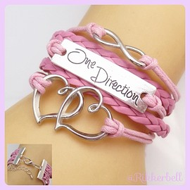 plamode - Charm Fashion Leather Bracelet Heart One Direction Pink