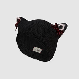 GUCCI - Wool knit hat with cat ears
