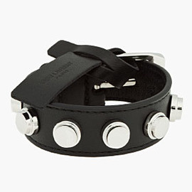 SAINT LAURENT PARIS - Black Leather Silver-Studded Belt Bracelet