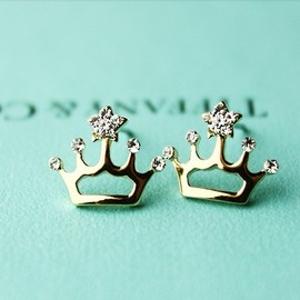 Elegant Cute Crown Shape Rhinestone Earings