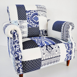 namedesignstudio - blue & white porcelain patchwork armchair