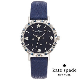 kate spade NEW YORK - 腕時計  metro crystal bezel leather strap watch