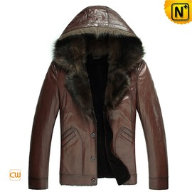 CWMALLS - CWMALLS® Hooded Fur Leather Jacket CW878576