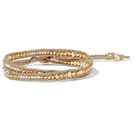 Chan Luu - Gold-plated beaded wrap bracelet
