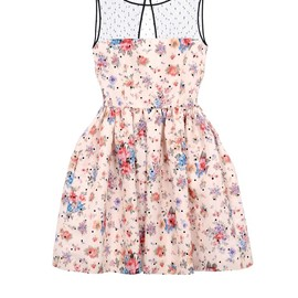 RED VALENTINO - Sleeveless dress in polka dots and flower chiné printed faille
