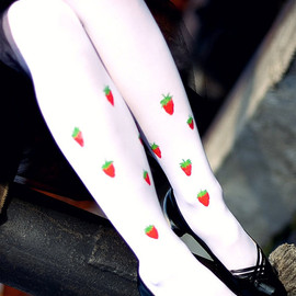 "Aguce - Funky full length tights ""Strawberries"" HANDPAINTED"