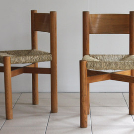 Charlotte Perriand - Chairs, wood & straw, original