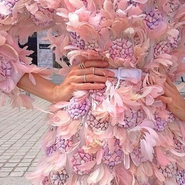 Giambattista Valli - pink featherd dress
