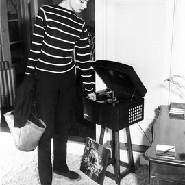 Audrey Hepburn photographed at her Los Angeles apartment...