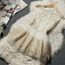 fashion - Image of [grzxy6601297]Gold Thread Embroidery Flared Mesh Tank Dress Cocktail Ball