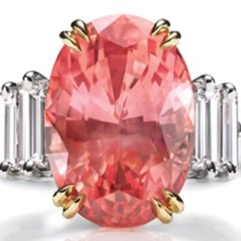 HARRY WINSTON - Very Rare &  Precious Padparadscha sapphire&diamond ring