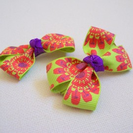Luulla - Mini Boutique Bow Pair - Green, Purple, Red
