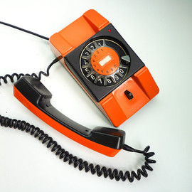 EuroVintage - Vintage Orange Rotary Phone 80s Dial Telephone