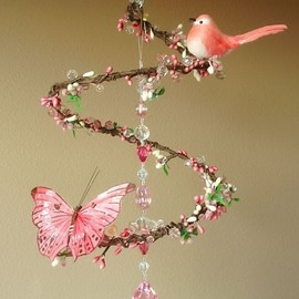 PinkPerch - Pink Strawberry Sunrise - Spiral Branch Mobile Chandelier with Perched Bird and Butterfly (Limited Edition)