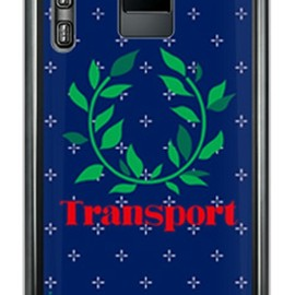 SECOND SKIN - Transport Laurel クロスドット ネイビー (クリア) design by Moisture / for ELUGA power P-07D/docomo