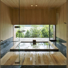 Kidosaki Architect Studio - Hinoki Bathroom, Lakeside House, Japan