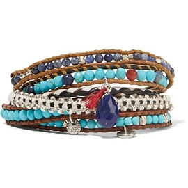 Chan Luu - Leather and silver multi-stone wrap bracelet