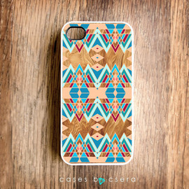 bycsera - Wood Effect iPhone 4 Case, Unique iPhone 5 Case, Geometric Case - Native American Style iPhone 4 Cover