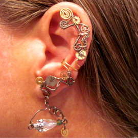 "ArianrhodWolfchild - Non Pierced ""Time Traveler"" Steampunk Wire Wrap Ear Cuff OOAK"