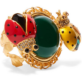 DOLCE&GABBANA - Gold-plated, crystal and enamel ring