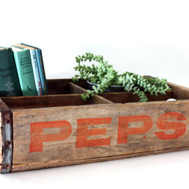 Vintage Wooden Soda Crate - weathered wood, wooden, Pepsi, soda, vintage beverage, industrial, loft, rustic