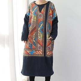 winter dress - Women's Dresses, blue maxi dress, plus velvet dress, Long sleeve dress
