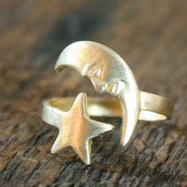 ChristineDomanic - Celestial Vintage Moon and Star Adjustable Brass Ring