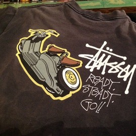 "Stussy - 「<used>1990s STUUSY ""READY,STEADY,GO!!""TEE black""made in USA"" size:L 7500yen」販売中"