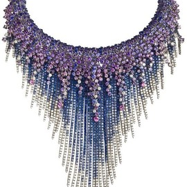 DAMIANI - MEDUSA Necklace-WHITE GOLD, DIAMONDS (CT 12,44) AND SAPPHIRES (CT 127,86)