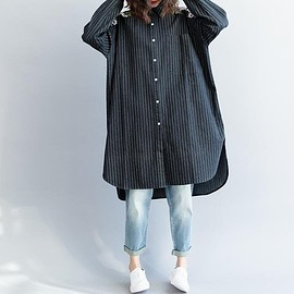 Loose Fitting long shirt - Women Loose Fitting long shirt, dark blue long gown, casual clothes